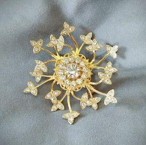Vintage Starburst Rhinestone Gold Toned Brooch